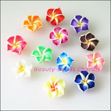 15Pcs Mixed Handmade Polymer Fimo Clay Flower Spacer Beads Charms 15mm
