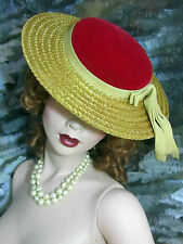 """Vintage 1940-50 Ladies Straw Hat red Velvet crown Wide Brim 12"""" new condition"""