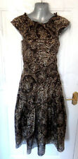 ❤ ZARA Gorgeous Ladies Size 8 (S) Two Tone Brown 100% Silk Dress Lined