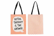 New Orange Canvas Shopper Shopping Bag with Speech Bubble Quirky Slogan