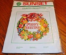 1981 Vintage Sunset Counted Cross Stitch Kit Merry Christmas Wreath #2130