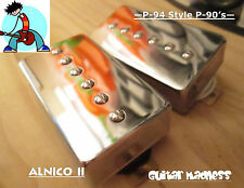 P-94 Style Humbucker sized P-90 Pickups  Chrome Covered (Alnico 2)