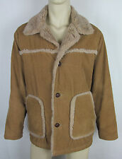 Mens Lucky Brand corduroy jacket winter coat Synthetic fur lined Brown Size L