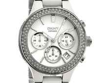 DKNY WHITE SILVER CRYSTAL CERAMIC CHRONOGRAPH WOMEN'S WATCH NY8181