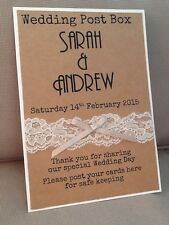 Handmade Personalised Vintage Lace Rustic Kraft Brown Wedding Post Box Sign