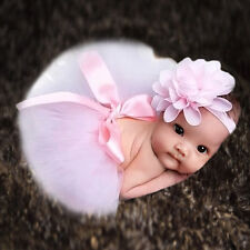 PINK Baby Girls Headdress Flower+Tutu Clothes Skirt Photo Prop Costume Top Sale