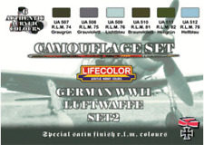 LifeColor German WWII Luftwaffe Set 2 (22ml x 6) CS07