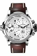 Time code Marconi, cronografo, cuoio, data, DUAL-Time, 46mm, tc-1002-02, UVP 490. -