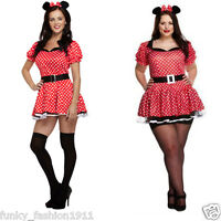 ADULTS WOMENS SEXY MOUSE MINNIE MOUSE ANIMAL RED COSTUME FANCY DRESS OUTFIT