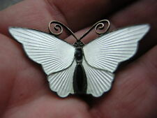 VINTAGE DAVID ANDERSEN STERLING SILVER BUTTERFLY BROOCH PIN WHITE ENAMEL NORWAY