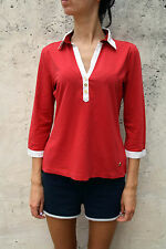 Marina Yachting Women 3/4 Sleeved Red White Casuals Top Stretch Authentic L