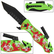 Zombie Crisis Bio-Hazard Flashlight Spring Assist Knife