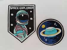 Planet & Space explorer astronaut twin pack Iron On Patch Sew on Transfer Badge
