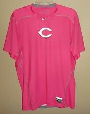 NEW MENS L NIKE PRO DRI-FIT CINCINNATI REDS MOTHERS DAY PINK TEAM ISSUED SHIRT