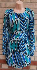 M&CO GREEN WHITE BLUE ABSTRACT CHIFFON SHIFT SMOCK TUNIC CAMI TEA DRESS 16 XL