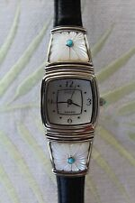 ECCLISSI Carved Mother of Pearl Floral Gemstone Leather Silver Watch! New in Box