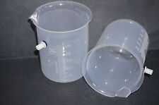 2 x 500ml Measuring Beaker Plastic Displacement Vessel Overflow Can Pair New