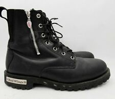 Red Wing Womens Side Zip Black Leather Biker Boots Sz 10