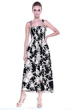 Hawaiian Luau Dress Cruise Maxi Long Tube Elastic Waterlily Sky Black Plus Size