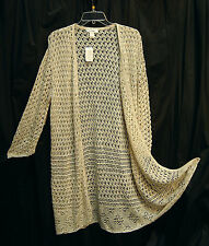 KHAKI OPEN WEAVE DRAPE FRONT CARDIGAN DUSTER JACKET SWEATER TOP~16/18W~1X