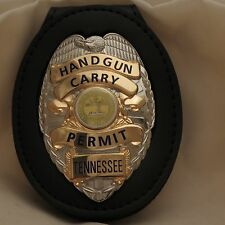 Concealed Carry Permit badge & belt clip Tennessee Silver colored base