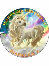 "RAINBOW UNICORN - DESIGN 1 PERSONALIZED 7.5"" CIRCLE ICING CAKE TOPPER"
