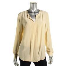 Anne Klein 2376 Womens Beige Silk Long Sleeves Shirt Blouse Top 12 BHFO