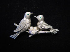 """JJ"" Jonette Jewelry Silver Pewter 'Birds w/ Eggs in Nest' Pin ~ Favorite Pin!"