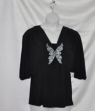 Bob Mackie Embroidered Jersey Shrug And Tank Set Size S Black