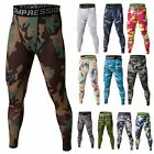 Mens Compression Base Layer Pants Printed Long Tight Under Skin Sports Gear New
