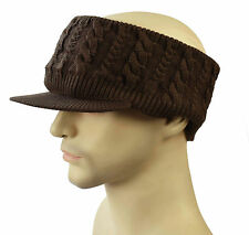 BEANIE VISOR CAP HAT Peak Brim Unisex Headband Ear Warmer Sports Chocolate Brown