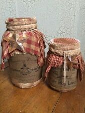 Primitive Grubby Grungy Pantry Jars COFFEE & LARD Cupboard Tuck Country Decor