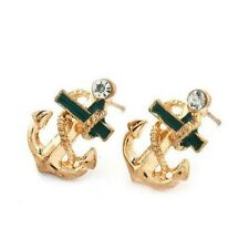 18k Gold Plated Anchor Stud Earrings with Imitation Diamond - Nautical Maritime