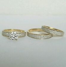 2 C round Trio 3 Piece 14K yellow Gold  Engagement Wedding Band Ring Set 7 9