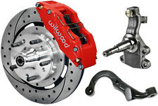 """WILWOOD DISC BRAKE KIT,2"""" DROP SPINDLES & ARMS,FRONT,67-69,12"""" DRILLED,6 PIS RED"""