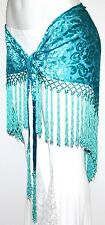 Blue Burnout Velvet Tribal Belly Dance Dancing Gypsy Bead Fringe Hip Scarf Belt