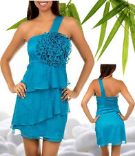 Women dresses one shoulder prom clubwear cocktail casual ruffle teal outfit