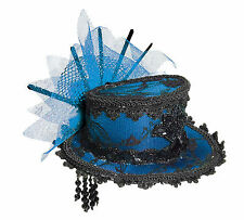 Blue Mini Victorian Top Hat with Hair Clips Steampunk Burlesque