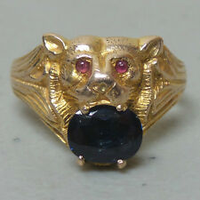 NICE VINTAGE ESTATE 14K GOLD BAT HEAD RING w BLUE SAPPHIRE in MOUTH & RUBY EYES