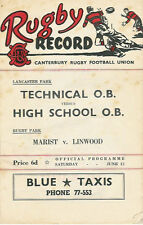 New Brighton, Technical O.B, Marist 12 Jun 1954 Canterbury NZ Rugby Programme