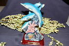 Resin Three Blue Dolphins On Waves Figurine With Wood Tone Base