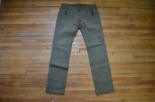 DSQUARED² VERY RARE WASHED GREEN EXPOSED ZIPPER & BROWN LEATHER TRIM PANTS 30 46