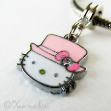 Pink Hello Kitty Top Hat European Charm Bead For Charm Bracelets And Necklaces