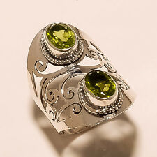AAA FINE 4.90 GM 925 SOLID STERLING SILVER RING SIZE 7 PERIDOT CUT GEMSTONE S259