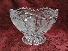 "Footed Crystal Bowl, Clear w/ Roses & Leaves, 6 3/8"" x 4.25"""