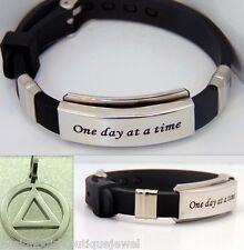 One Day at A Time Bracelet & Sobriety Necklace 12 Step AA Serenity Prayer Circle