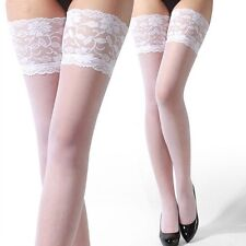 Sexy Women Lace Top Silicone Band Stay Up Thigh High Stockings Pantyhose [White]