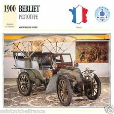 BERLIET PROTOTYPE 1900 CAR VOITURE FRANCE CARTE CARD FICHE