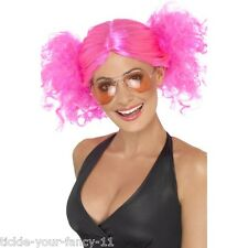 Para mujer Cute 80's Rosa racimos Peluca Gallina Disco divertido Fancy Dress Punk Rock Pop Star