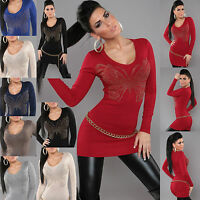 SEXY WOMEN MINI DRESS CLUBBING PARTY JUMPER LADIES SWEATER TOP SIZE 6 8 10 12 S